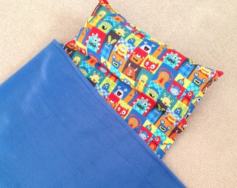 Personalized Nap Mat, Great for daycare, preschool or kindergarten. Padded. Happy monsters.