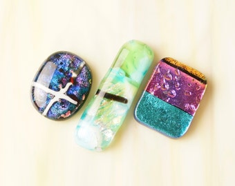 Lot of 3 Dichroic Fused Glass Beads Cabs Cabochons