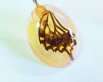 Real Butterfly Wing Glitter Bohemian Jewelry  Nature Necklace Resin Pendant Fairy Wings Sparkly Magic Earth  Insect Black Yellow Orange