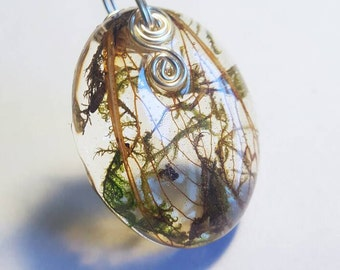 Real Cicada Wings Moss Necklace  Bohemian Jewelry Nature Earth Pendant Woodland Insect Bugs Adjustable Fairy Wings Green