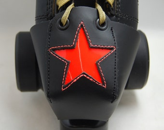 Leather Toe Guards with Florescent/Neon Orange Star