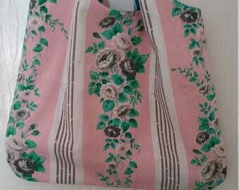 Vintage Barkcloth Happy Shopper Bag