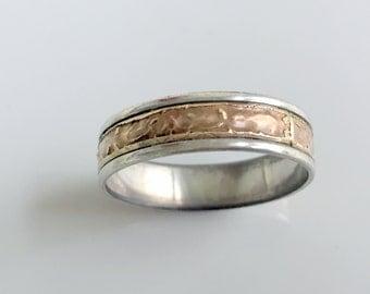 Vintage Men's Ring Band Sterling Silver 925 14K gold filled Hammered Style   Size 12.5