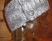 Headband Earwarmer Hand Knit Wool 4 Inch Wide Band Gray Shades Free US Shipping