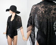 Vintage Beaded Fringe Shawl / Black Sheer Scarf / Evening Cocktail Wrap / Floral / Triangle / Gypsy Bohemian / Glam Party Top