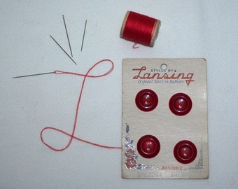 Red Buttons, Red Plastic Buttons, Lansing Carded Buttons, Vintage Supply, Vintage Buttons, NOS,