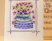 "Birthday Cake With Flower Candles Watercolor Original ""Big Card"" 5x7 With Matching Envelope  betrueoriginals"