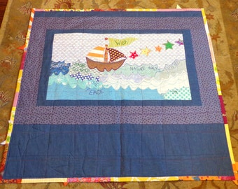 "Baby Boy Quilt Wall Hanging Baby Cotton Quilt 41""Wide x 39"" Long Boutique Art Patchwork Batik Cottons betrueoriginals"