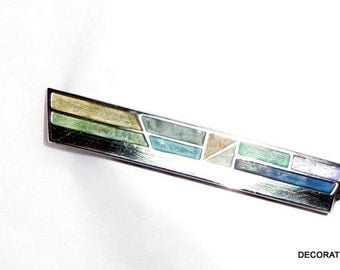 Carly Wright Champlévé Enamel Sterling Silver Brooch Pin Designer Signed