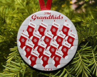 Christmas Stocking Grandchildren Ornament  - customized with names and year - 10-16 names - C099 Grandkids Grandparent Gift