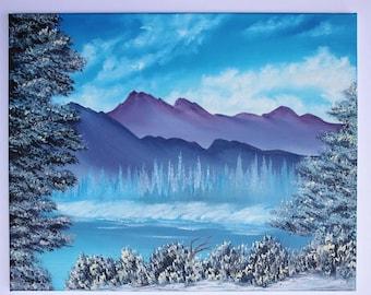 Bob Ross Style Oil Painting Landscape Winterscape Alaska Blue Icy Winter Splendor Mountains Wilderness Lake 16 x 20
