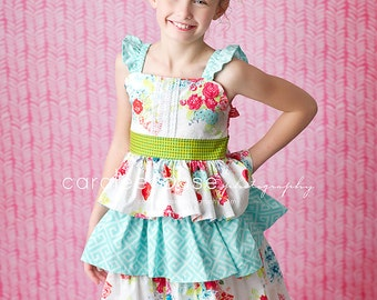 Girls 3 Tier Ruffle Dress - by Mellon Monkeys