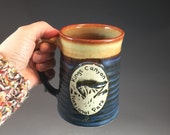 Wheel Thrown Kings Canyon National Park Mug in Croc Blue and Shino (tan brown) Glazes