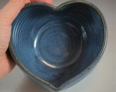 Heart Shaped Wheel Thrown Bowl in Croc Blue Glaze- ready to ship in time for Valentines Day!
