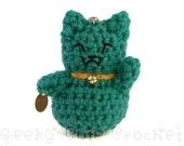 Jade Good Luck Kitty Amigurumi Keychain Maneki Lucky Neko Cat
