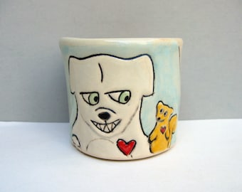 Dog Cup, Small Cup with Dog and Squirrel, Blue and White Child's Cup or Ceramic Shot Glass with White Dog, Animal Pottery, Frenemies