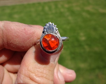 Sterling Silver Sun Themed Mexican Jelly Opal Ring - Size 10