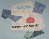 QUILT THERAPY Embroidery on Ladies' Tee or Sweatshirt