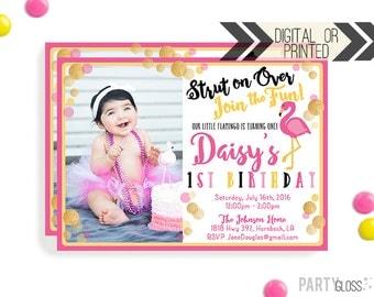 Pink Flamingo Invitation - Digital or Printed   Pink Flamingo   Flamingo Birthday Party Invitation   Pink Flamingo Invitation   Photo Invite