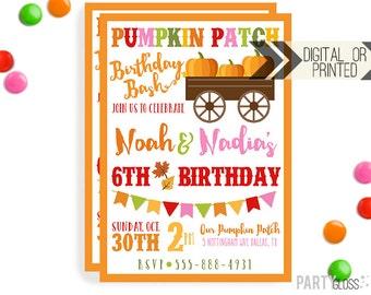 Brother Sister Pumpkin Patch Invitation | Digital or Printed | Pumpkin Party | Pumpkin Invite | Twin Pumpkin | Fall Birthday | Boy Girl