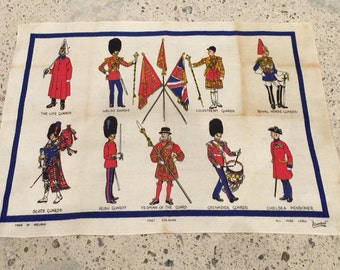 British Guards Linen Travel Souvenir Tea Towel - Brits - Welsh Guards - Scots Guards - Boy's Nursery Decor - Vintage Traveler - Lamont Linen
