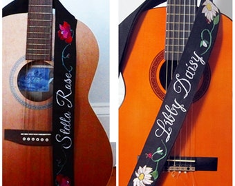 Guitar Strap- Hand Embroidered Custom Monogram Name - Rose - Daisy - Other Your Choice/ Name and Flower/ OOAK Custom Music Strap