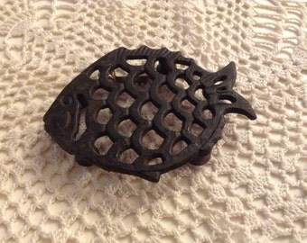 Vintage Metal Fish Trivet for Your Table or to Hang on Your Wall