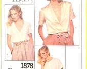Uncut Very Easy Vogue American Designer Original 1878 Calvin Klein Misses' Blouse Loose-fitting Vintage Sewing Pattern  Bust 34