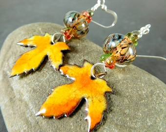 RESERVED  Maple Leaf Dangle Earrings, Rustic Enameled Copper & Glass Earrings, Nature Inspired Woodland Jewelry, Green Yellow Orange Brown