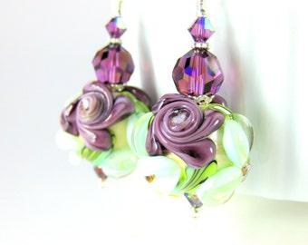 Dangle Earrings with Dark Purple Roses Light Aqua Blue Flowers Crystals & Sterling Silver, Pastel Floral Earrings, Romantic Glass Earrings