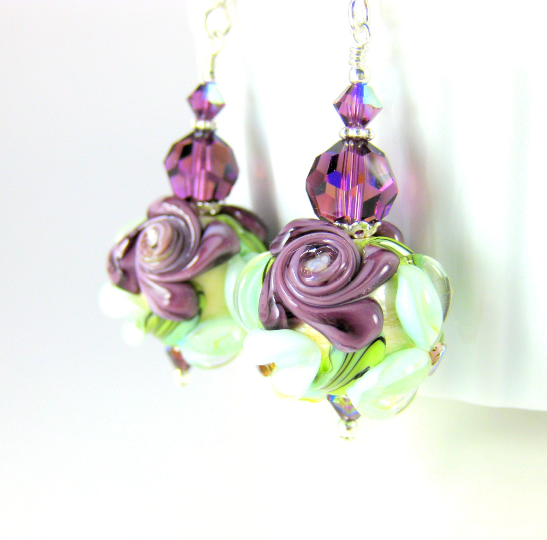 32 Best Compliments Of Purple Images On Pinterest: Dangle Earrings With Dark Purple Roses Light Aqua Blue Flowers