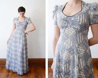 1970s Blue and White Paisley Maxi Dress - S