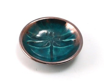 Dragonfly Bowl Handmade Ceramic Raku Pottery in Teal