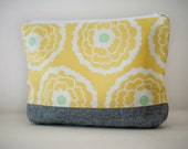 Happy Yellow Flowered zippered pouch