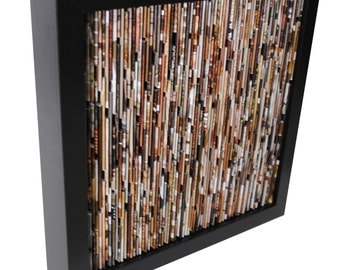 neutral BLACK square shadowbox wall art - made from recycled magazines, brown, tan, red, green, neutral, khaki, warm colors, interior design