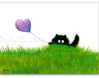 Black Fuzzy Cat & Friend Spring Flowers Butterflies- Art Print by Bihrle Signed ck484