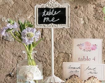 Tabletop Antique White Blackboard Stand  Wedding decor, Event, Trend Chalkboard Inspired Wedding