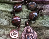 The Loving Kindness Mala in Copper and Green Opal. A fundraiser for Alzheimers Research