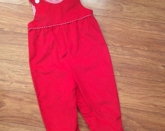 Little girls, Toddlers red fine wale corduroy longall - Size 18m
