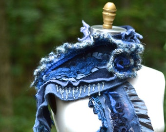 Cashmere wool SCARF Wrap with crochet flower, beads, lace appliqués, taffeta ruffle. Bohemian art to wear blue textured up cycled accessory