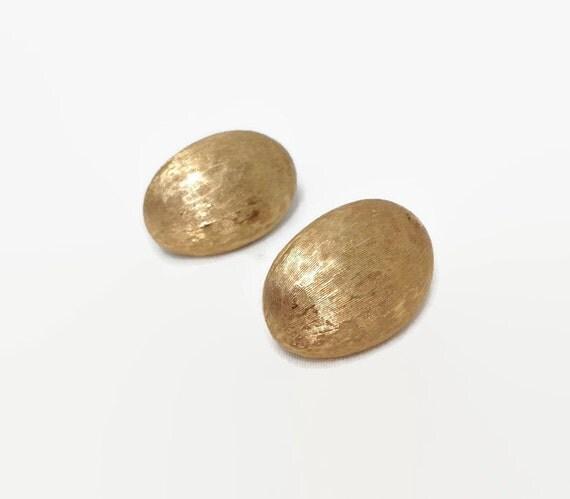 Vintage Clip On Earrings - Brushed Gold - Monet