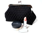 Black Polka Dot and Pink Makeup Clutch Purse Small Bag