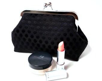 Black Polka Dot and Pink Makeup Clutch Purse Small Bag