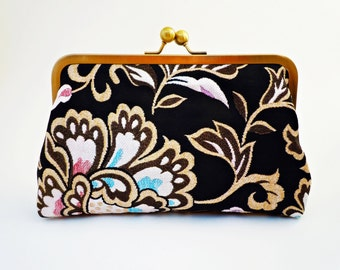 Evening Clutch, Bridal Purse, Floral Brocade, Gold Wedding,  Makeup Bag, Bridesmaids Gift