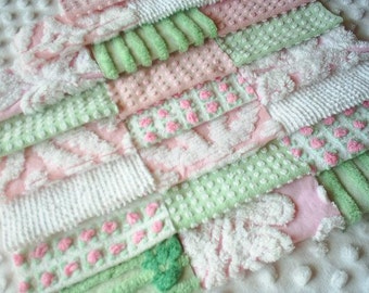Vintage Chenille Bedspread Squares-Mint Green and Pink Morgan Jones Rosebud-SWEET