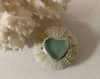 Sea Glass Ring Seafoam Sea Glass Heart Silver Ring Size 7.5
