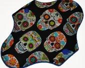 Liner Hemp Core- Sugar Skulls Reusable Cloth Mini Pad- WindPro Fleece- 7.5 Inches (19 cm)