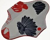 Liner Hemp Core- Navy & Red Nautical Reusable Cloth Mini Pad- WindPro Fleece- 7.5 Inches (19 cm)