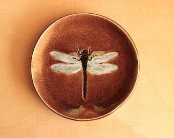 Ceramic DRAGONFLY Dish - Handmade Brown Stoneware Soap Dish - Multipurpose Plate - Ready To Ship