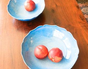 Large Sky Blue Lotus Ceramic Bowl/ Fruit Bowl/ Serving Bowl